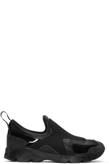 MM6 Maison Margiela - Black Panelled Slip-On Sneakers