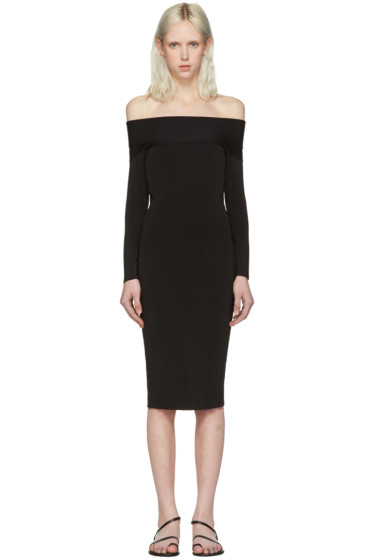 T by Alexander Wang - Black Fitted Off-The-Shoulder Dress