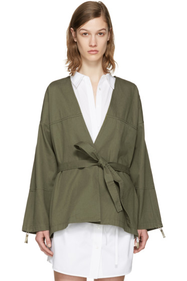 T by Alexander Wang - Green Cotton Wrap Jacket