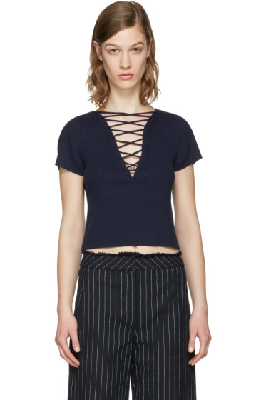 T by Alexander Wang - Navy Lace-Up Pullover