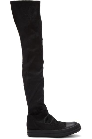 Rick Owens - ブラック ストッキング スニーク トール ブーツ
