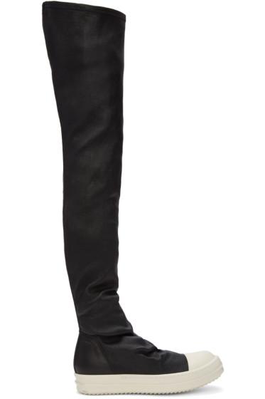Rick Owens - ブラック ストッキング スニーク テール ブーツ