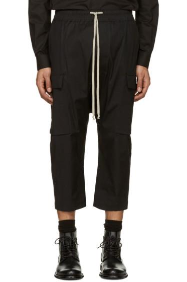 Rick Owens - Black Cropped Drawstring Cargo Pants