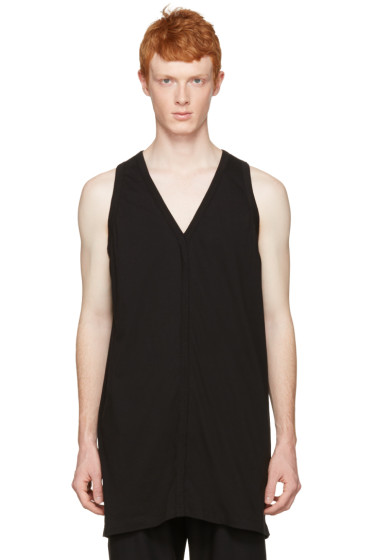 Rick Owens - Black Oversized V-Neck Tank top