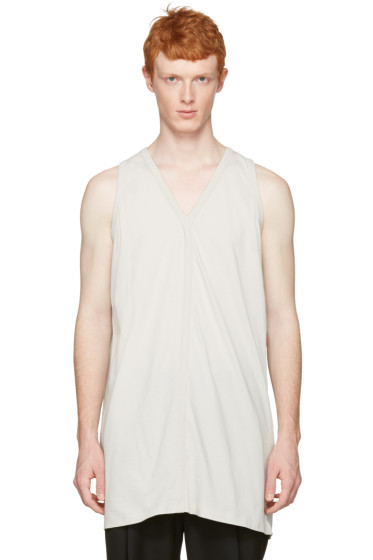 Rick Owens - White Oversized V-Neck Tank Top