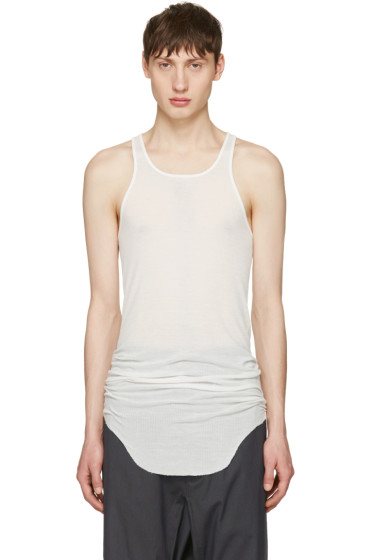 Rick Owens - White Ribbed Tank Top