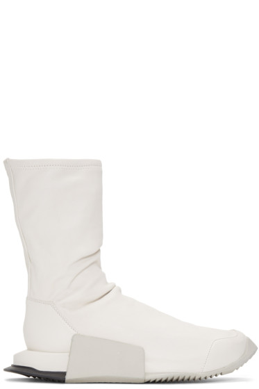 Rick Owens - Ivory adidas Orginals Edition Leather Level Sock Mid-Calf Sneakers
