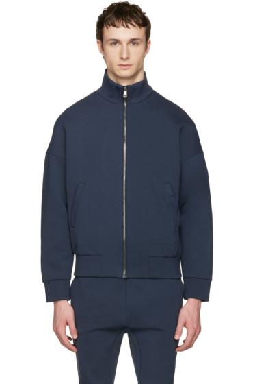 Jil Sander - Navy Jersey Zip-Up Pullover