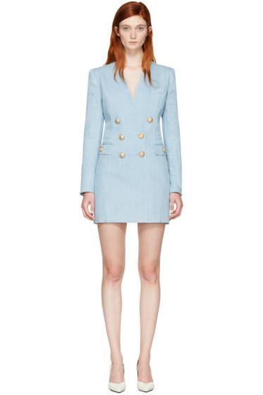 Balmain - ブルー デニム ブレザー ドレス