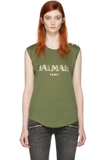 Balmain - カーキ ロゴ T シャツ