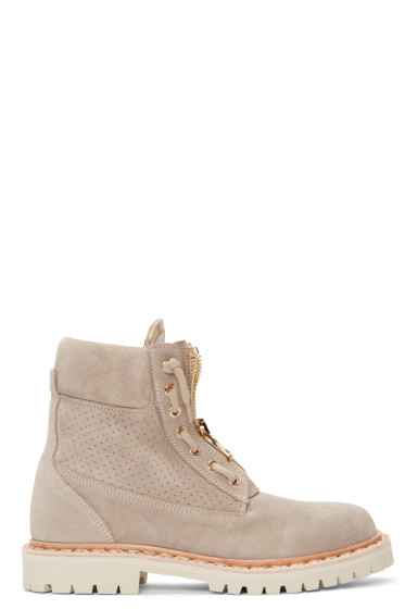 Balmain - Beige Perforated Taiga Boots