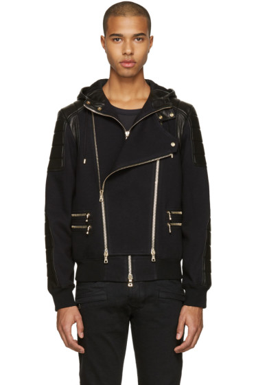 Balmain - Black French Terry & Leather Jacket