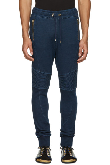 Balmain - Blue Panelled Zip Lounge Pants