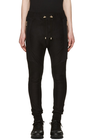 Balmain - Black Perforated Lounge Pants