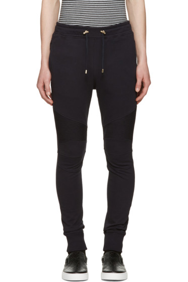 Balmain - Navy Ribbed Knee Lounge Pants