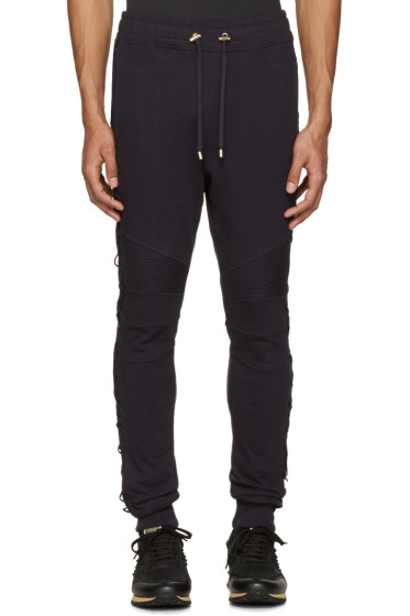 Balmain - Navy Lace-Up Lounge Pants
