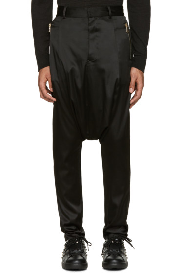 Balmain - Black Silk Sarouel Trousers