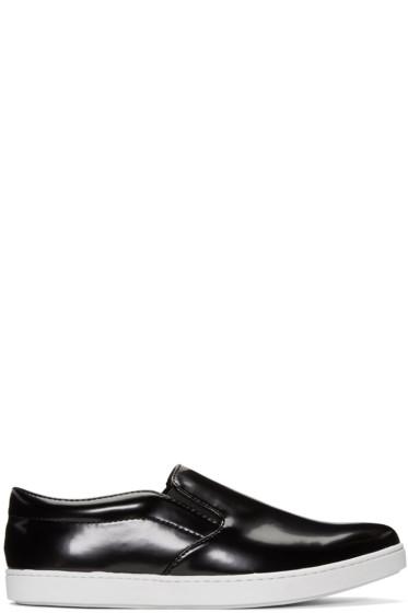 Junya Watanabe - Black Synthetic Slip-On Sneakers