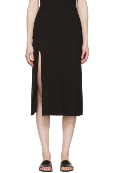 Lanvin - Black Wool Slit Skirt