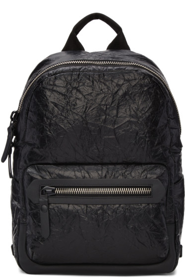 Lanvin - Black Crinkled Leather Backpack