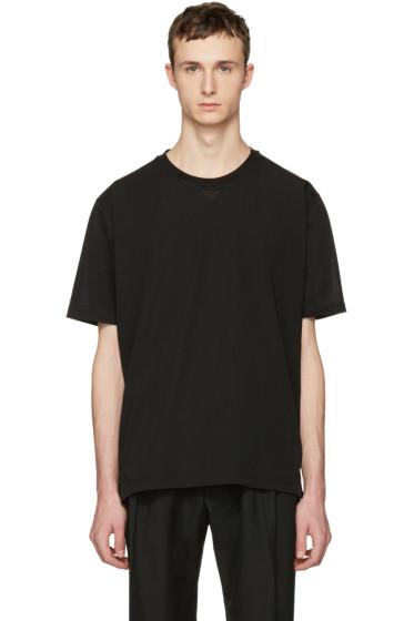 Lanvin - Black Woven Front T-Shirt
