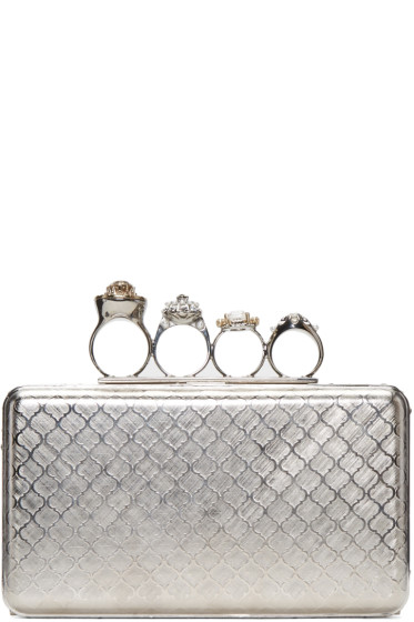 Alexander McQueen - Silver Small Knucklebox Clutch