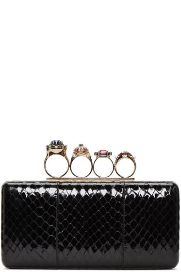 Alexander McQueen - Black Snakeskin Ring Box Clutch