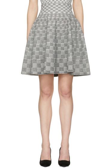 Alexander McQueen - Black & Ivory Jacquard Check Volume Miniskirt