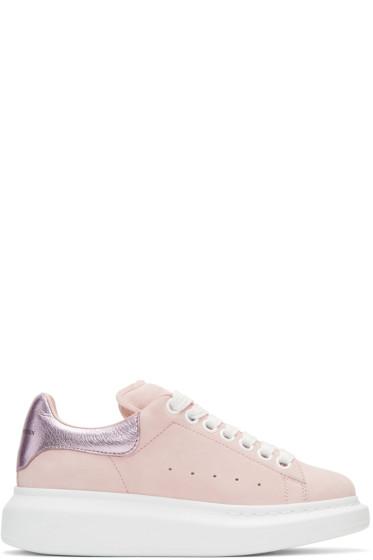 Alexander McQueen - Pink Suede Oversized Sneakers