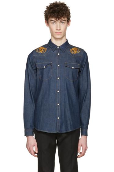 Alexander McQueen - Indigo Embroidered Skulls Denim Shirt