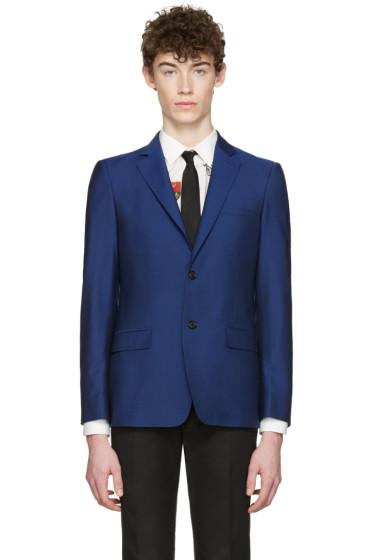 Alexander McQueen - Blue Mohair Two-Button Blazer