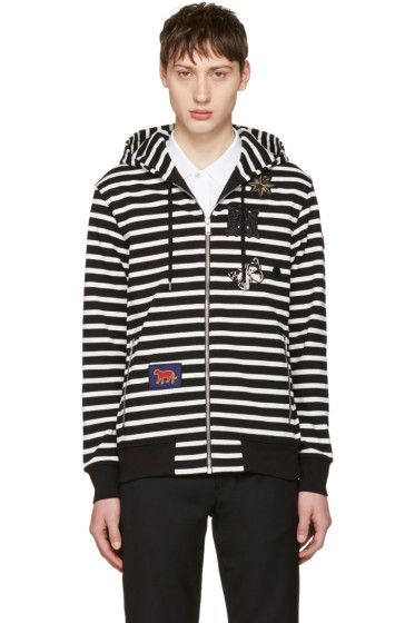 Alexander McQueen - Black & White Striped Badges Hoodie