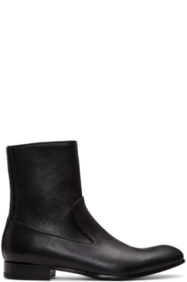Alexander McQueen - Black Leather Zip-Up Boots