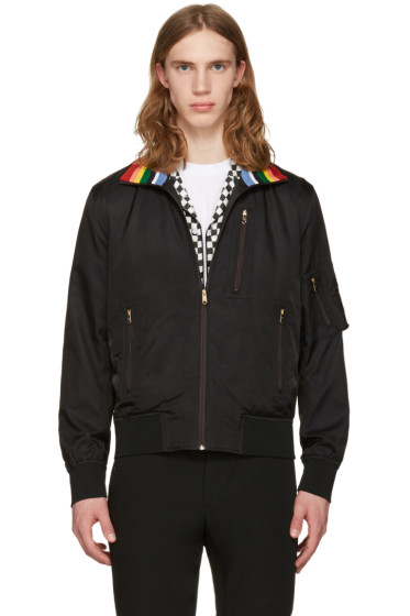Paul Smith - Black Striped Collar Bomber Jacket