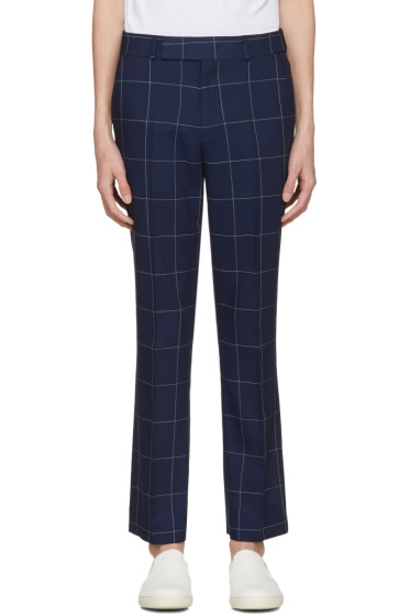 Paul Smith - Navy Windowpane Check Trousers