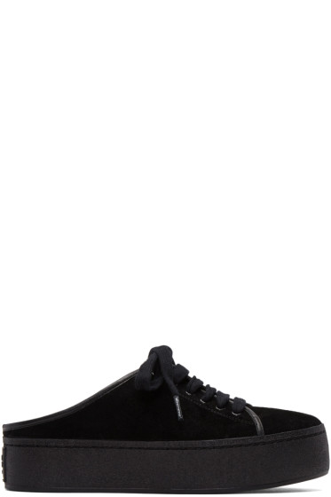 Opening Ceremony - Black Suede Cici Lace-Up Slide Sneakers