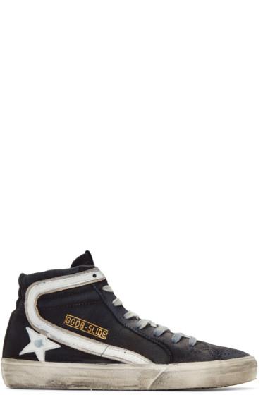 Golden Goose - Navy Denim Slide High-Top Sneakers