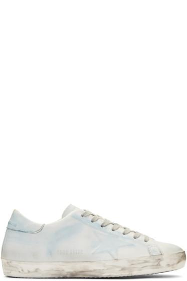 Golden Goose - White & Blue Superstar Sneakers