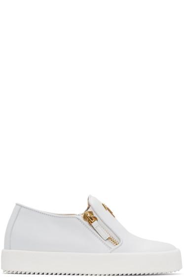 Giuseppe Zanotti - White Leather London Slip-On Sneakers