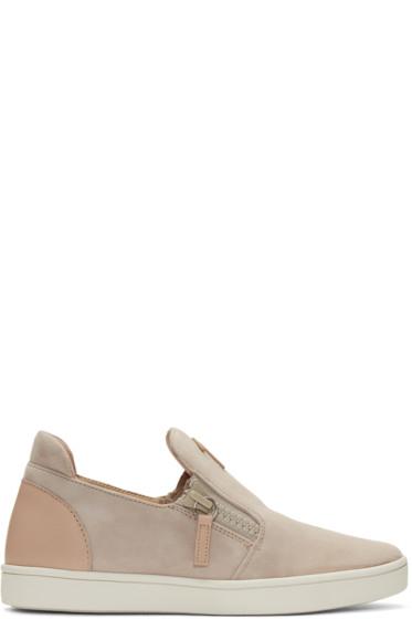 Giuseppe Zanotti - Pink Suede London Slip-On Sneakers
