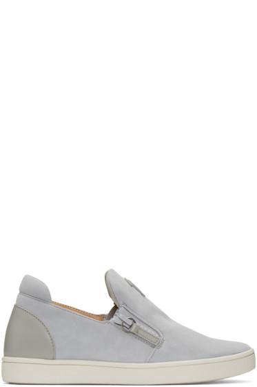 Giuseppe Zanotti - Grey Suede London Slip-On Sneakers