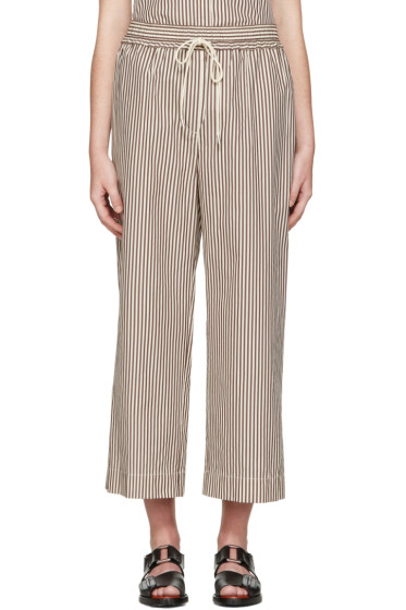 3.1 Phillip Lim - White & Brown Striped Wide-Leg Trousers