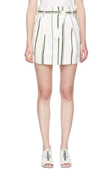 3.1 Phillip Lim - Off-White Striped Paper Bag Miniskirt