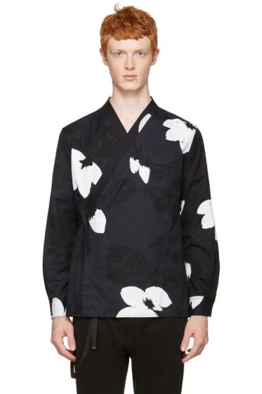 3.1 Phillip Lim - ブラック フローラル キモノ シャツ