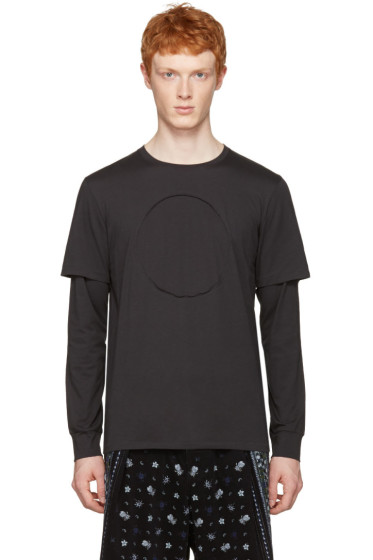 3.1 Phillip Lim - ブラック ノー ロゴ ロングスリーブ T シャツ