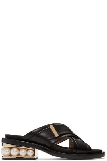 Nicholas Kirkwood - ブラック カサーティ パール クロスオーバー サンダル