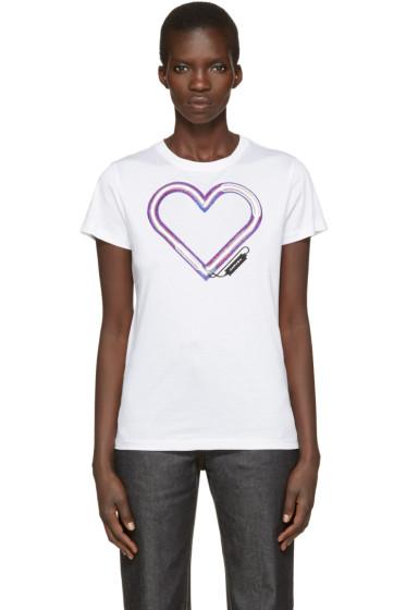 Carven - White Neon Heart T-Shirt