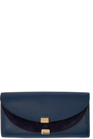 Chloé - Navy Long Georgia Flap Wallet
