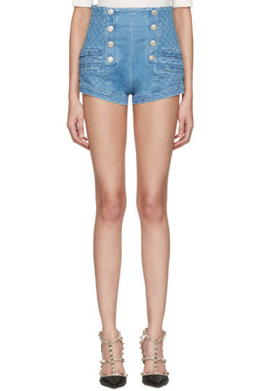 Pierre Balmain - Blue Denim Buttoned Shorts