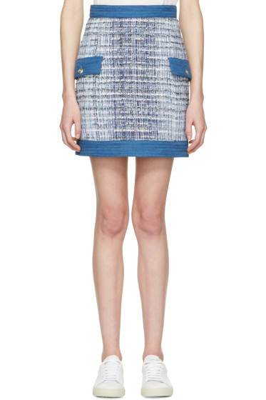 Pierre Balmain - Blue Tweed Miniskirt